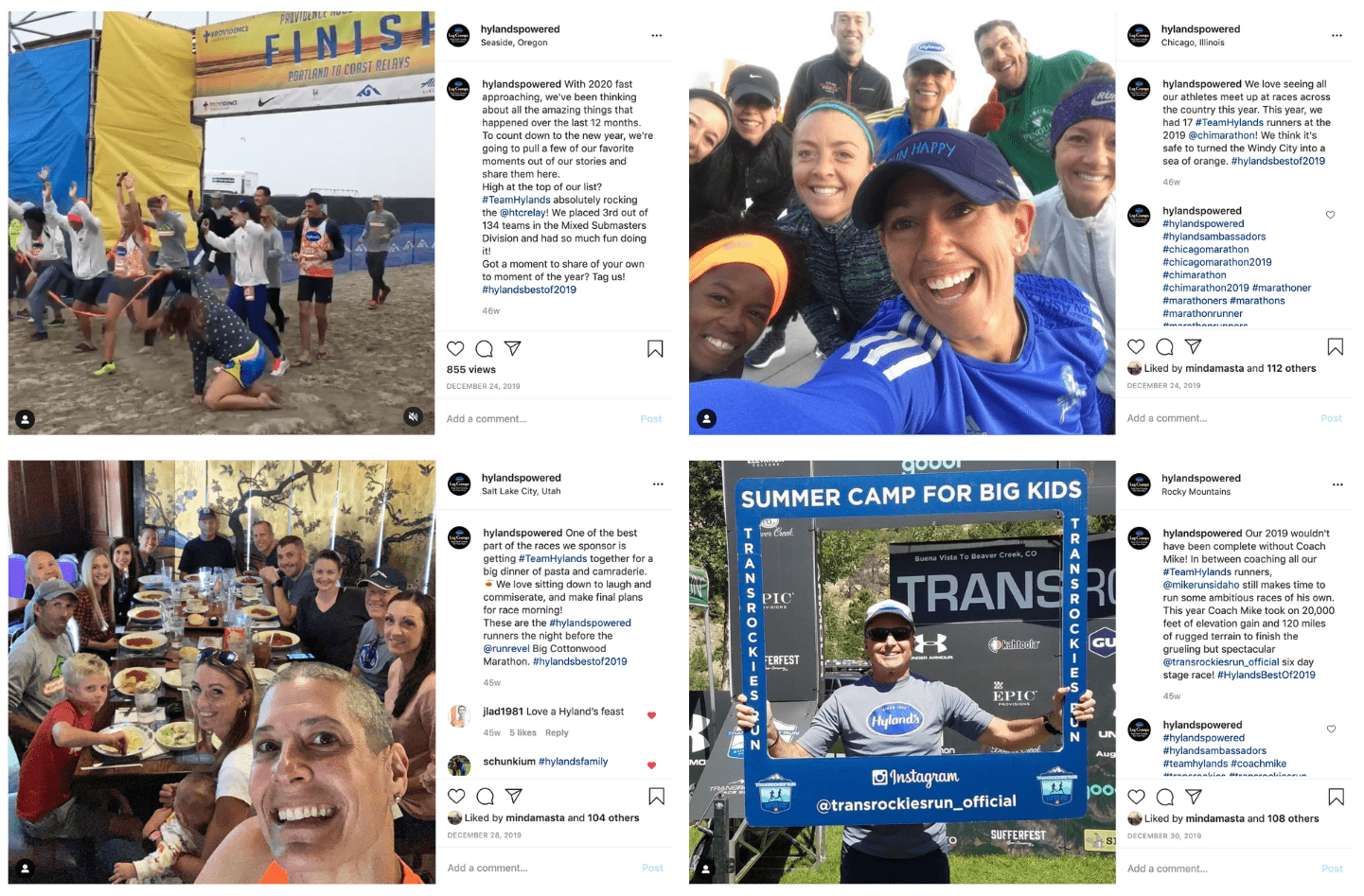 A collage with 4 Instagram posts from Hyland's that highlight 4 of their top moments from 2019.