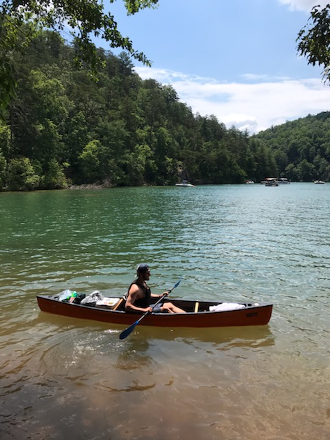 Dan paddling an Old Town Canoe at Lake Jocassee