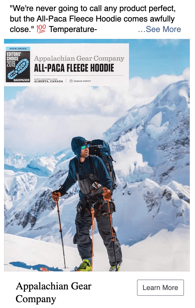 Appalachian Gear Company's Public Relations Coverage for Backpacker Magazine's Editor's Choice for All-Paca Fleece Hoodie. Man hiking through snow in ski boots in Nepal.