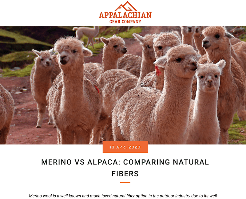 """A screenshot of a blog page with a herd of Alpacas and the title reads """"Merino vs Alpaca: Comparing Natural Fibers to show one example of outdoor industry PR"""