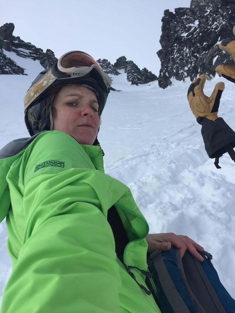 Sarah backcountry skiing