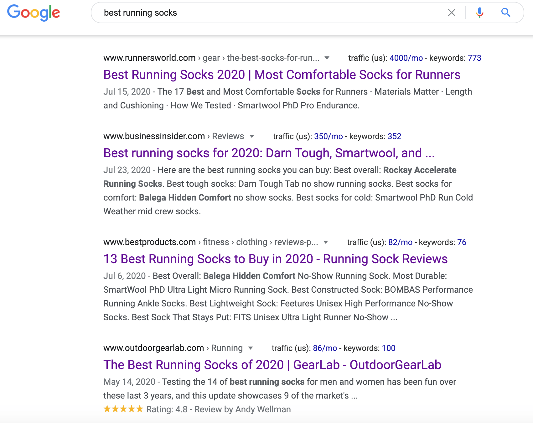 Image of Google Search for Best Running Socks
