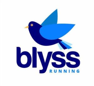 Blyss Running logo with bluebird