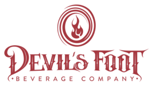 Devil's Foot Beverage Company logo in red with red flame in a circle