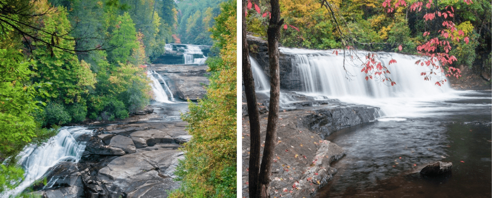Two photos of waterfalls in DuPont Forest in western North Carolina.
