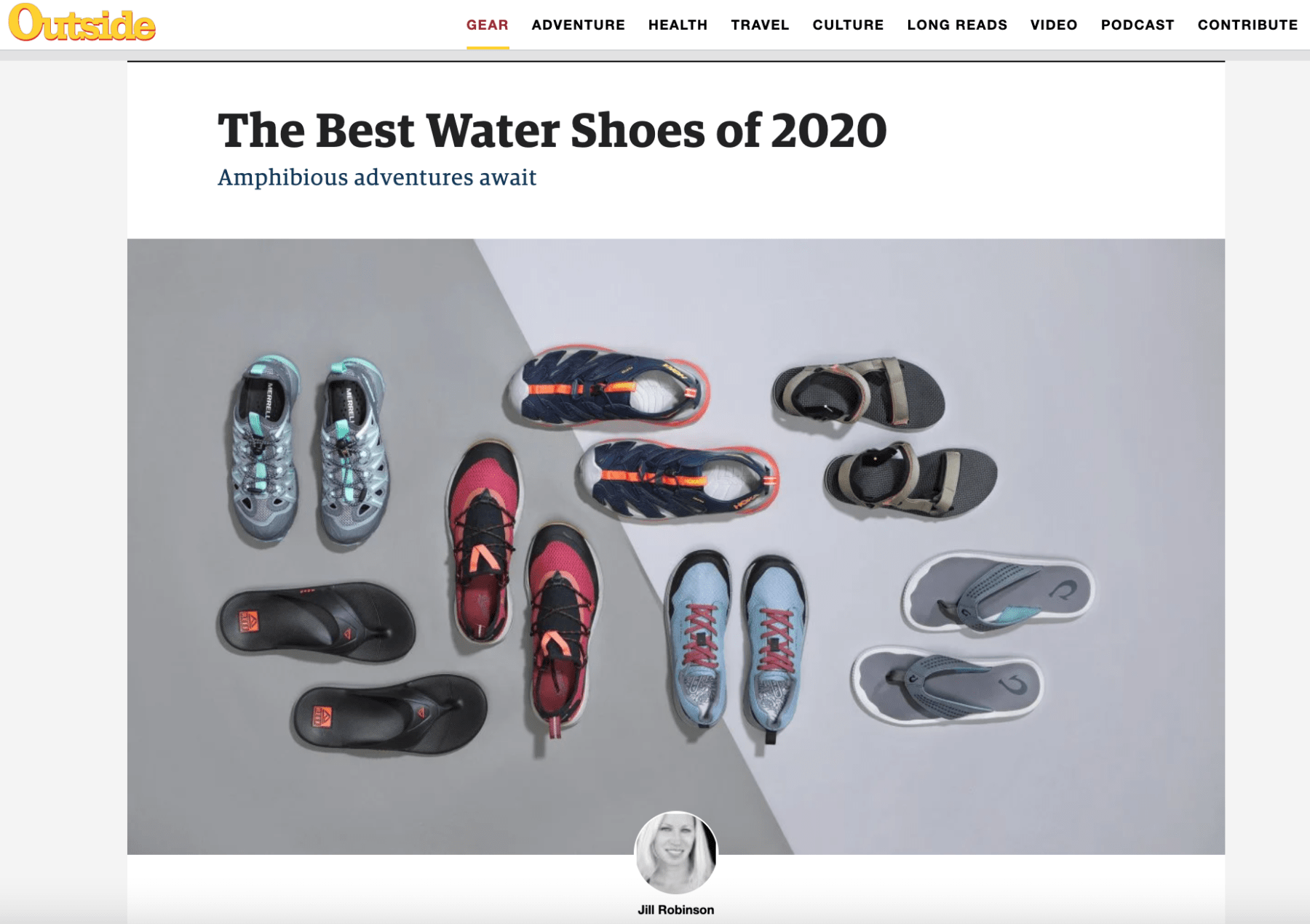 Image of Outside Magazine's website page with The Best Water Shoes of 2020 and 8 pairs of shoes sitting on a white and gray background.