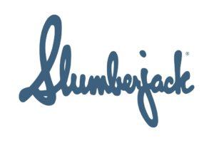 Slumberjack logo blue script