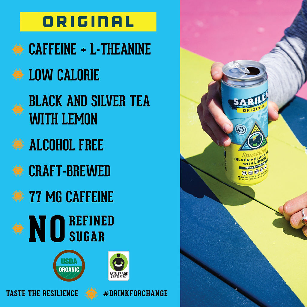 Infographic on Sarilla teas benefits: Caffeine + L-Theanine Low Calorie Black and Silver Tea with Lemon Alcohol Free Craft Brewed 77 mg Caffeine No refined sugar