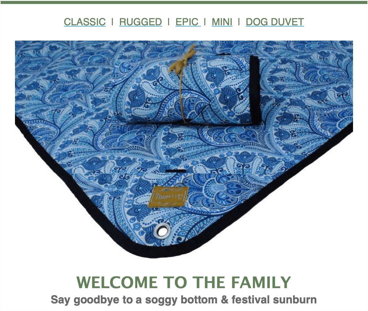 Tarpestry newsletter, Welcome to the Family, picture of blue Tarpestry