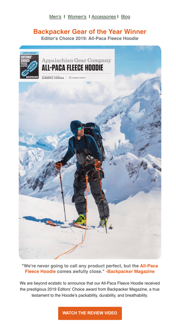 Appalachian Gear Company shares an Backpacker hit about their All-Paca Fleece Hoodie to their newsletter, making the most of their media relations strategy.
