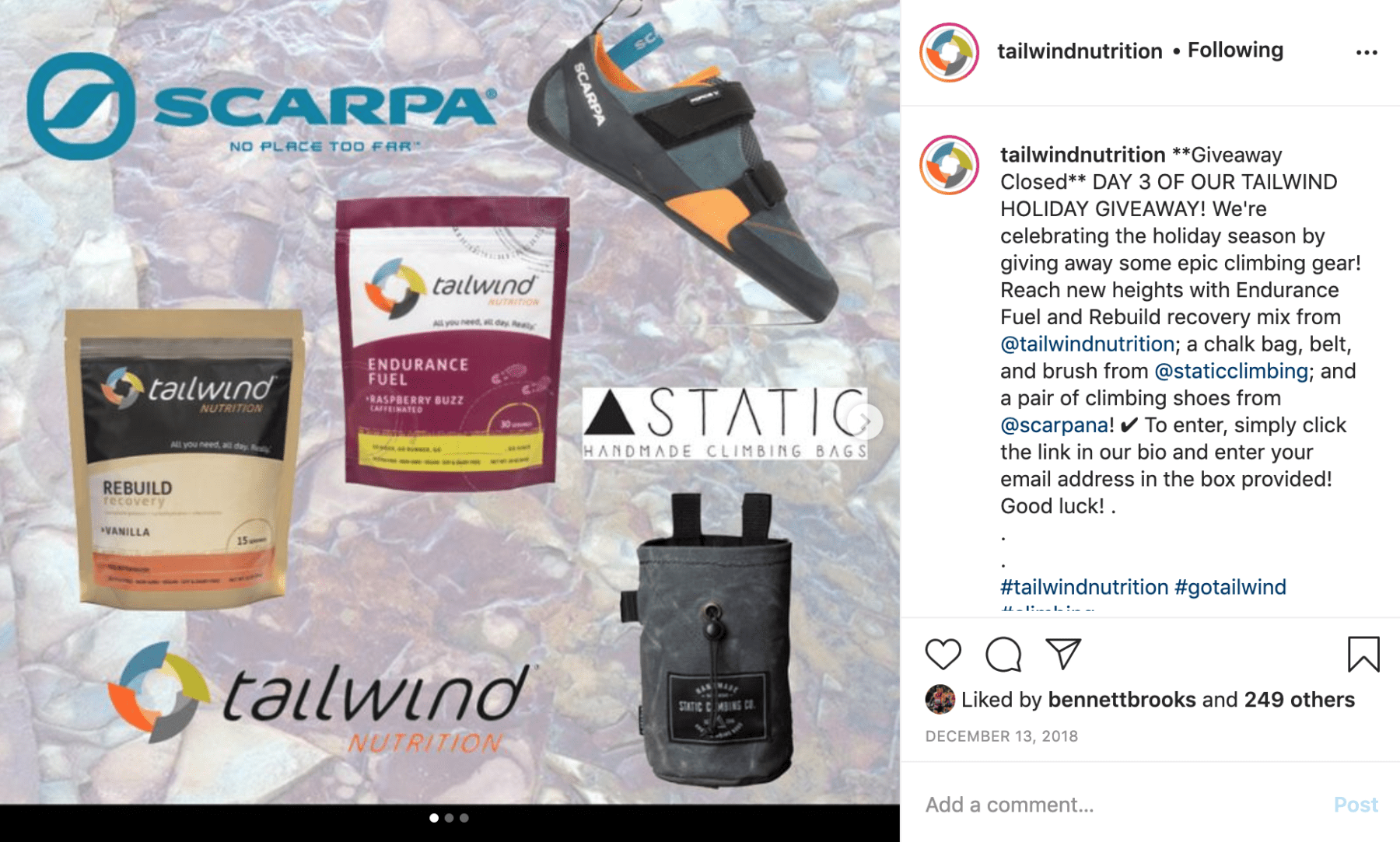 An Instagram post from Tailwind about a climbing-themed holiday giveaway.