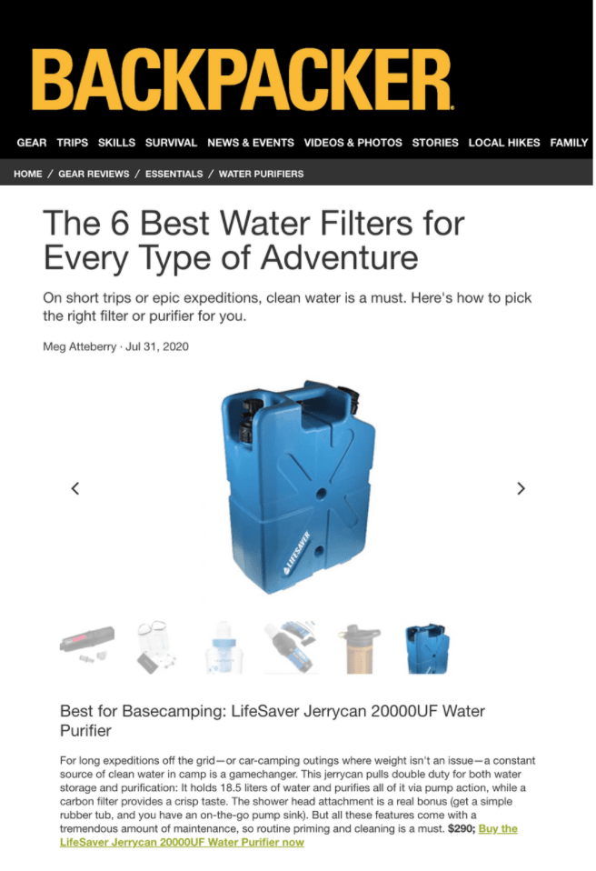 Image of Backpacker's website page with the words The 6 Best Water Filters for Every Type of Adventure and a picture of Lifesaver's Jerrycan in blue.