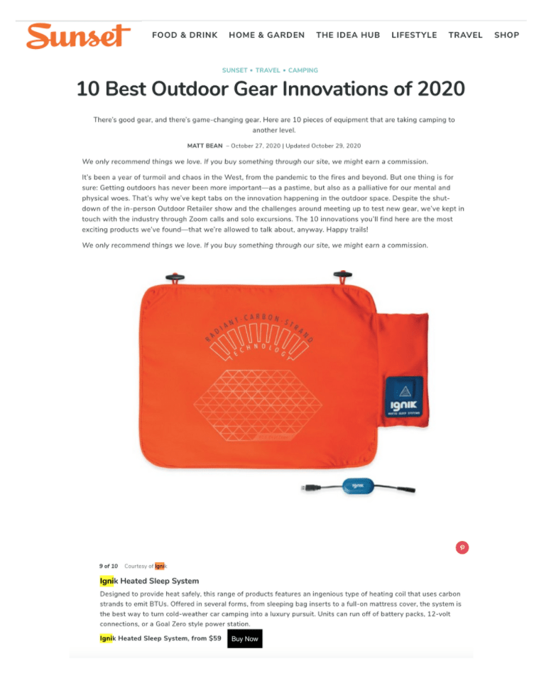 Image of Sunset website page.  Says 10 Best Outdoor Gear Innovations of 2020 with a picture of Ignik's heated sleep system in orange.