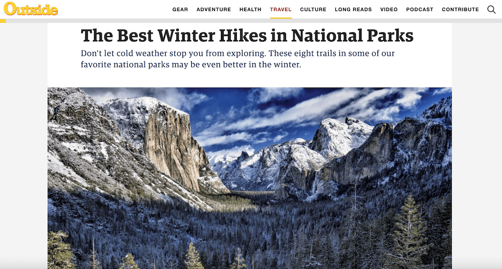Screenshot of an Outside article with the words The Best Winter Hikes in National Parks and a view of a snowy Yosemite National Park.