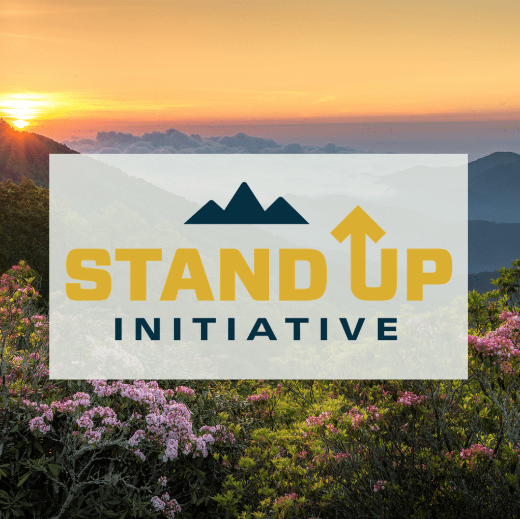 Blue Ridge Mountains with blooming rhododendrons and a logo overlaying it saying Stand Up Initiative.