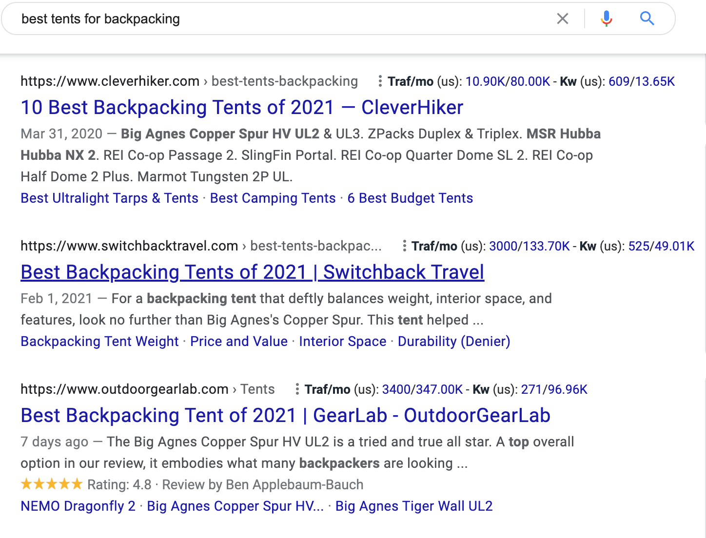 Screenshot of google search for best tents for backpacking to show what digital public relations looks like