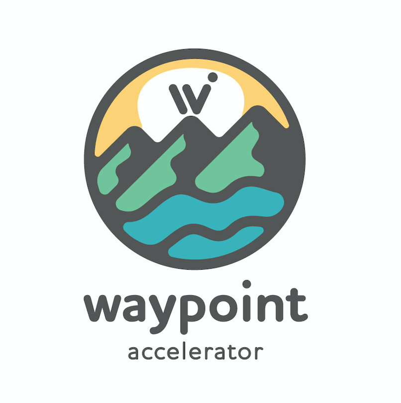 Logo for the outdoor industry of Western North Carolina's accelerator program, Waypoint. Logo includes a drawing of mountains and water underneath them. Says waypoint accelerator underneath.