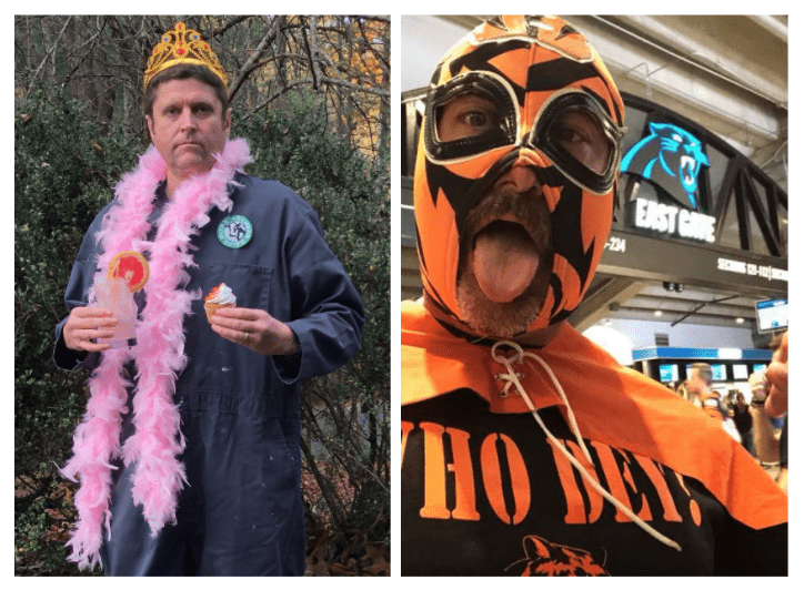 Two pictures of men. First picture is a man in a workman's jumper with a gold crown, pink boa on and holding a pink fruity drink and a cupcake. The other is a man in an orange face mask with a tiger print and a cape on, his shirt says Who Dey!