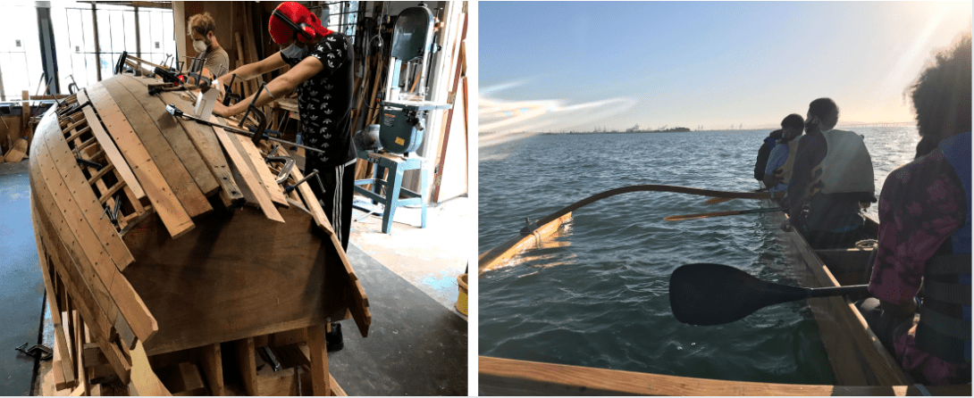 Photo on the left shows students building a boat. Photo on the right shows students taking this boat out on the water.