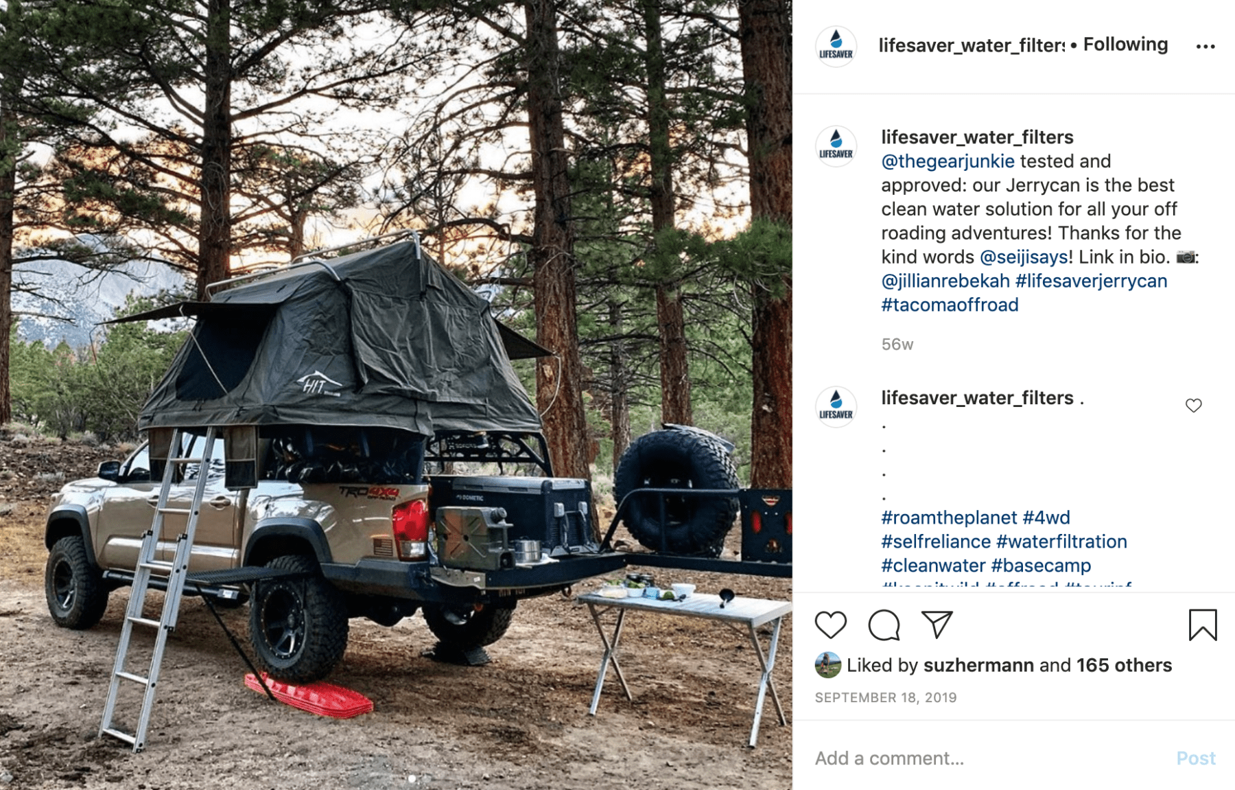 LifeSaver shares a GearJunkie hit about their Jerrycan in an Instagram post, making the most of their media relations strategy.